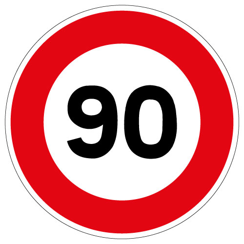 Panneau limitation 90 km/h