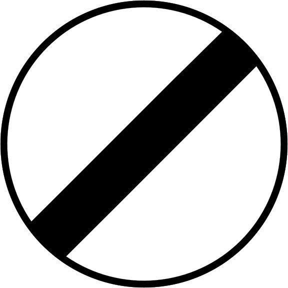 Panneau fin de limitation de vitesse