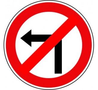 Panneau interdiction à tourner à gauche