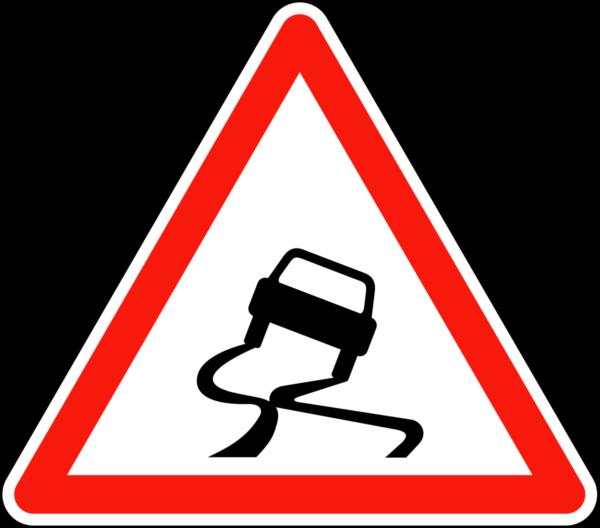 Panneau route glissante